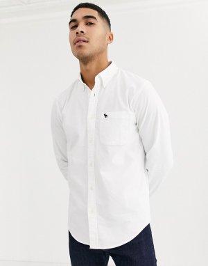 Белая узкая оксфордская рубашка с логотипом -Белый Abercrombie & Fitch