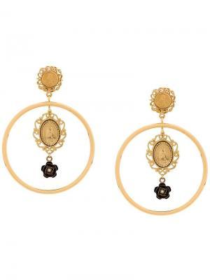 Круглые серьги Madonna с подвесками Dolce & Gabbana. Цвет: золотистый