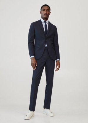 Костюмный пиджак slim fit из шерсти - Travel Mango. Цвет: темно-синий
