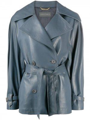 Кожаная куртка Alberta Ferretti. Цвет: серый