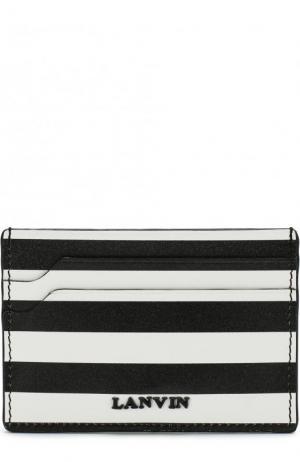 Кожаный футляр для кредитных карт с полоску Lanvin. Цвет: черно-белый