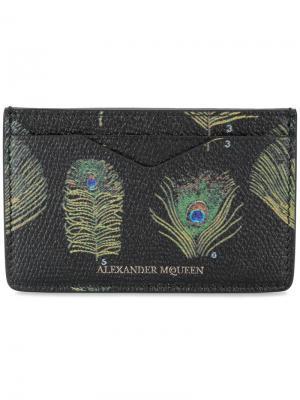 Визитница с павлиньими перьями Alexander McQueen. Цвет: чёрный