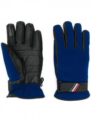 Перчатки с кожаными вставками Moncler Grenoble. Цвет: синий