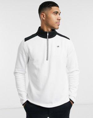 Бело-черный лонгслив с молнией 1/4 -Белый Calvin Klein Golf