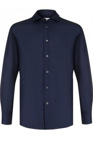 Шелковая сорочка с воротником кент Brioni. Цвет: синий