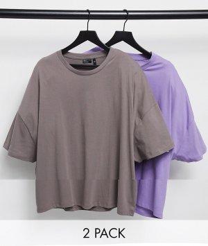 Набор из 2 oversized-футболок Plus-Многоцветный ASOS DESIGN