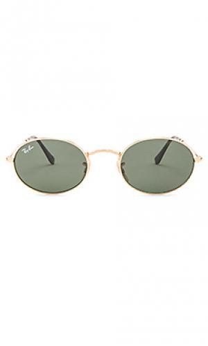 Овальные плоские солнцезащитные очки Ray-Ban. Цвет: металлический золотой