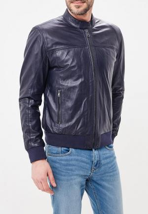 Куртка кожаная Al Franco. Цвет: синий