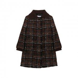 Твидовое пальто Dolce & Gabbana. Цвет: коричневый