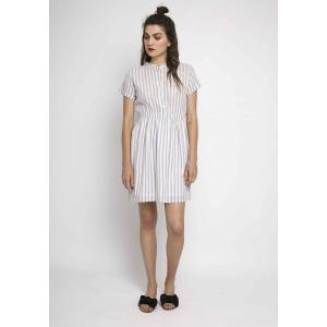 Платье в полоску с короткими рукавами и эластичным поясом COMPANIA FANTASTICA. Цвет: в полоску синий/белый