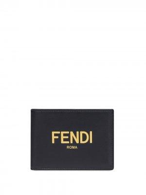 Бумажник с тисненым логотипом Fendi. Цвет: черный