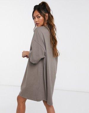 Темно-серое платье-футболка -Серый Puma