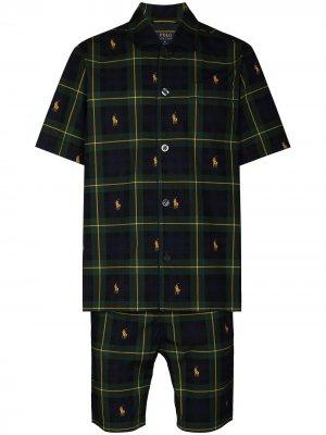 Пижамный топ в клетку Polo Ralph Lauren. Цвет: синий