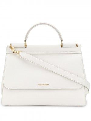 Большая сумка-тоут Sicily Dolce & Gabbana. Цвет: белый
