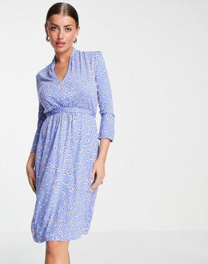 Голубое трикотажное платье с завязками на поясе и принтом -Голубой French Connection