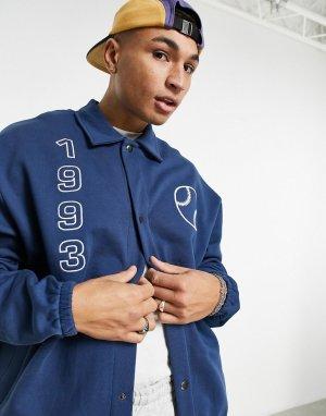 Трикотажная спортивная куртка в стиле oversized с университетским принтом -Темно-синий ASOS DESIGN