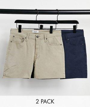 Набор из 2 пар шортов бежевого и темно-синего цвета с 5 карманами Intelligence-Многоцветный Jack & Jones