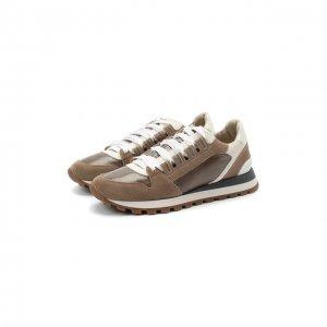 Комбинированные кроссовки Brunello Cucinelli. Цвет: коричневый