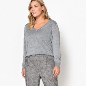 Пуловер с V-образным вырезом из тонкого блестящего трикотажа CASTALUNA. Цвет: черный блестящий