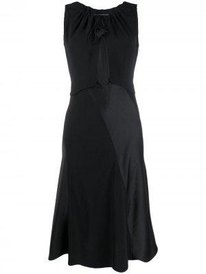 Платье миди с вырезом LANVIN. Цвет: черный