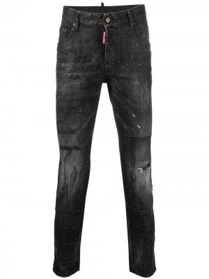 Укороченные вощеные джинсы скинни Dsquared2. Цвет: черный