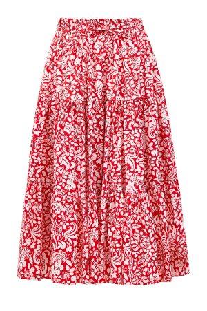 Хлопковая юбка-миди с многоярусным подолом и флористическим паттерном ALEXANDER TEREKHOV. Цвет: красный
