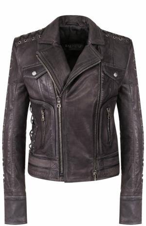 Кожаная куртка со шнуровкой и косой молнией Balmain. Цвет: черный
