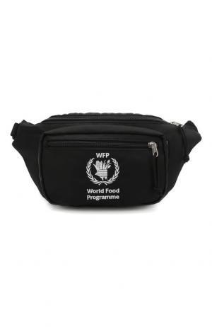 Поясная сумка с вышивкой World Food Programme Balenciaga. Цвет: черный