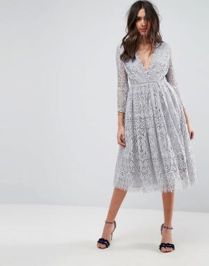 Кружевное платье миди для выпускного с длинными рукавами -Серый ASOS DESIGN