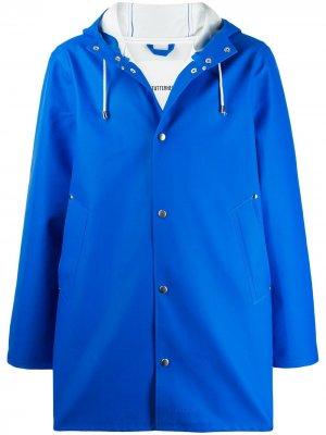 Пальто с капюшоном на шнурке Stutterheim. Цвет: синий
