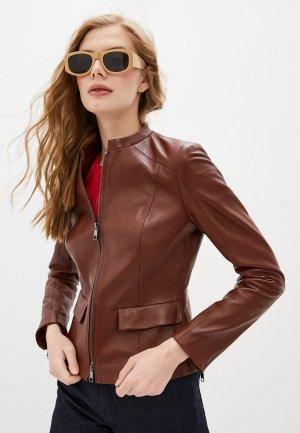 Куртка кожаная Boss Samutasa. Цвет: коричневый