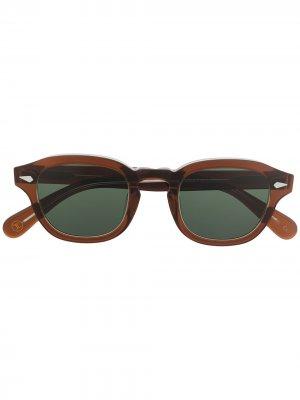 Массивные солнцезащитные очки Posh в круглой оправе Lesca. Цвет: коричневый