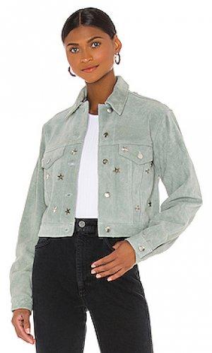 Куртка дальнобойщика lucky stars Understated Leather. Цвет: нежно-голубой