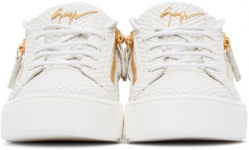 White Croc Frankie Sneakers Giuseppe Zanotti. Цвет: white