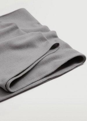 Базовый шарф с бахромой - Basic Mango. Цвет: меланжевый средний серый