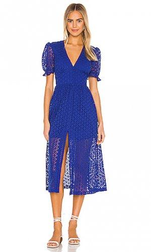 Платье миди jordan Bardot. Цвет: королевский синий