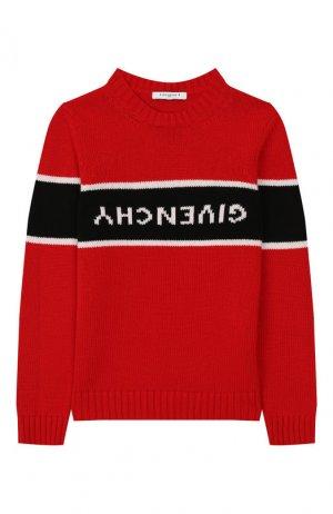 Свитер из шерсти и кашемира Givenchy. Цвет: красный