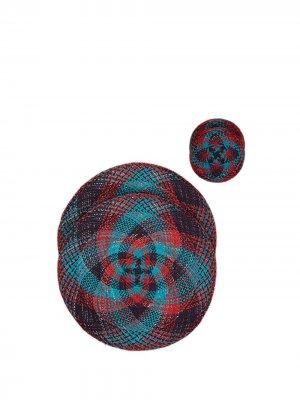 Набор из четырех плетеных сервировочных салфеток La Doublej. Цвет: синий