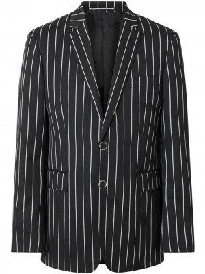 Строгий пиджак кроя слим в тонкую полоску Burberry. Цвет: черный