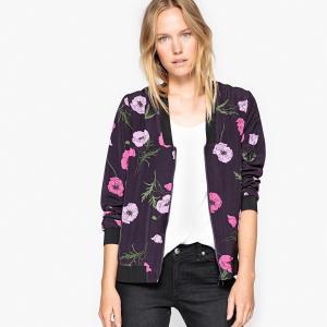 Куртка-бомбер с цветочным рисунком La Redoute Collections. Цвет: темно-синий/цветочный рисунок