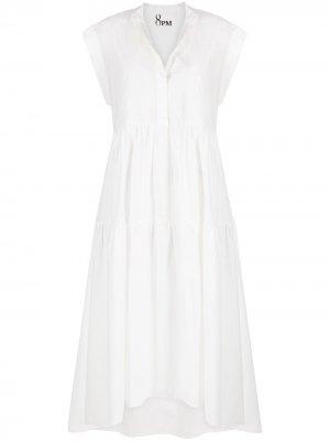 Ярусное платье миди с высоким воротником 8pm. Цвет: белый