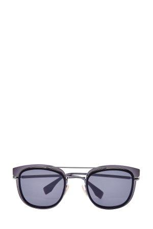 Очки в квадратной трехслойной оправе FENDI (sunglasses). Цвет: черный