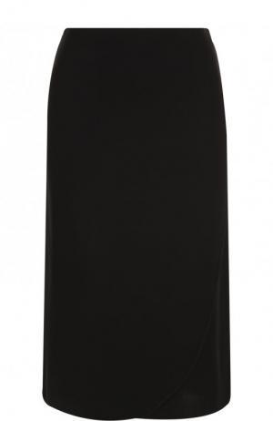 Однотонная юбка-миди из шелка Valentino. Цвет: черный