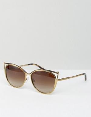 Металлические солнцезащитные очки кошачий глаз с вырезом Michael Kors. Цвет: золотой