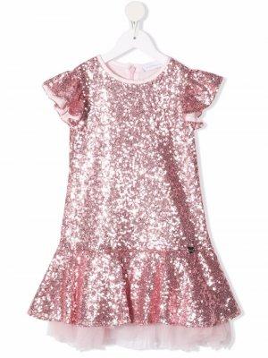 Sequin-embellished tulle dress Monnalisa. Цвет: розовый