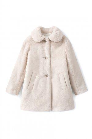 Светло-серое пальто из искусственного меха Maisie Bonpoint. Цвет: серый