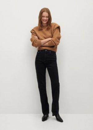 Прямые джинсы с завышенной талией - Urban Mango. Цвет: черный деним