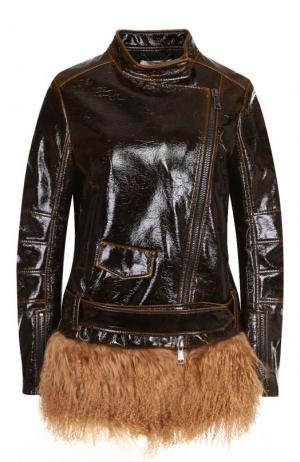 Кожаная куртка с воротником-стойкой и косой молнией Dorothee Schumacher. Цвет: коричневый