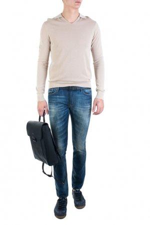 Бежевый пуловер с воротником Armani Jeans. Цвет: бежевый