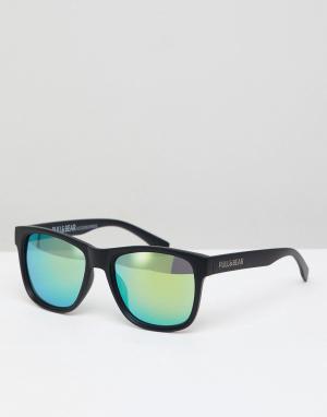 Черные квадратные солнцезащитные очки с желтыми стеклами Pull&Bear. Цвет: черный